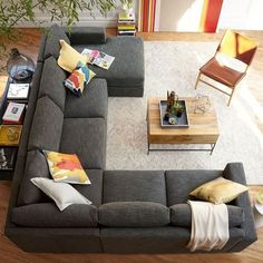 Apartment Living Room Sectional Small Spaces Rugs 21 New Ideas Living Room Sofa Design, Family Room Design, New Living Room, Living Room Designs, Living Room Decor, Corner Sofa Living Room Layout, Living Room Couches, Corner Couch, Cozy Living