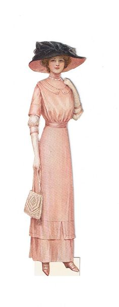 vintage lady fashion 1912. Woman in pink dress with pink and Black hat