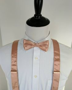 Rose Gold Bow Tie and Suspenders, Rose Gold Wedding, Men's Accessories - SALE NEW Rose Gold Bowtie and Suspenders. Quinceanera Planning, Quinceanera Decorations, Quince Decorations, Quinceanera Ideas, Rose Gold Suit, Rose Gold Theme, Dama Dresses, Quince Dresses, 15 Dresses