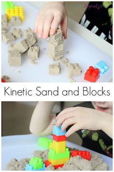 Kinetic sand and blocks is a fun engineering challenge and sensory experience. It's also a great busy activity for young kids!