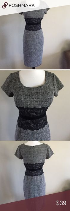 """Ellen Tracy Lace Tweed Sheath Dress Ellen Trace Lace Tweed Shift Dress. Size- 10. Bust- 36"""", waist- 30"""", hip- 41"""", length- 39"""". Polyester/rayon shell & 100% polyester lining. Excellent condition. Ellen Tracy Dresses"""