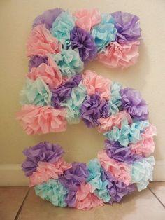 Tissue paper birthday number,