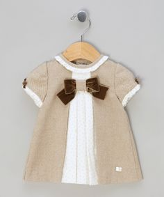 Light Brown & White Woven Dress by Elisa Menuts