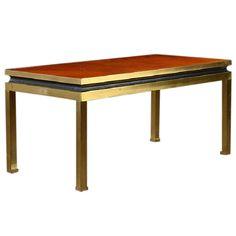 "Vintage Rectangular Brass Coffee Table, $3,600 15""t x 18""w x 36""d"