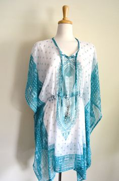 Boho Paisley Tribal Caftan, Plus Size, Beach Pool Cover Up, Dress, Tunic, Sheer Summer Handmade Kaftan, Summer Dress