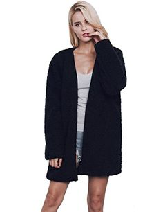 VLUNT Mujer Abrigos de pieles Chaqueta Invierno Abrigo Largo Tops Pelo Sint¨¦tica de Fox Chaqueta Fur Coat (Negro)