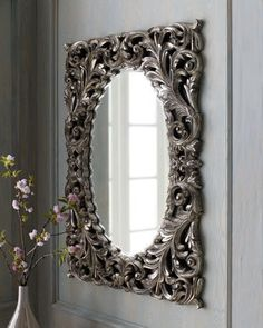 Foyer:  Silver Baroque Mirror
