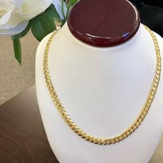 This Solid Yellow Gold Miami Cuban Chain just dropped on our website! Shop now - link in bio. Gold Chains For Men, 14k Gold Chain, Cuban, Types Of Metal, Necklace Lengths, Solid Gold, Gifts For Him, Miami, Pearl Necklace