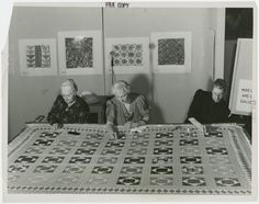 "Women demonstrating quilting at the New York World's Fair (1939-1940 - ""Left to right, Mrs. Henry Pickhard, Mrs. Herbert Noblo, and Mrs. Cornelius J. Bergen use their needlework skill on a cloth 100 years old that was handed down to Mrs. Pickhard by her mother.  The authentic design... is called ""Bachelor's Fancy."""