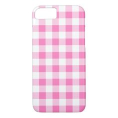 strawberry pink white gingham check pattern iPhone 8/7 case - pattern sample design template diy cyo customize
