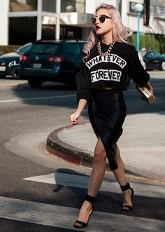Black tight skirt,sweater whatever and attidute to go with it.