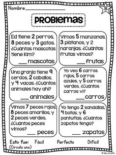 Problemas Sumando 3 Números - Adding 3 numbers word problems, activities, centers, and so much fun stuff in Spanish