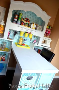 Craft nook made from old headboard. And up cycled everything