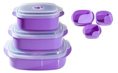Purple bowels Microwaveable, dishwasher safe and most importantly BPA free!  Good price too!
