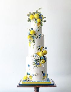 Italian inspired sugar lemon wedding cake made with Satin Ice Beautiful Wedding Cakes, Unique Wedding Cakes, Gorgeous Cakes, Wedding Cake Designs, Pretty Cakes, Amazing Cakes, Lemon Wedding Cakes, Fondant Wedding Cakes, Cake Fondant