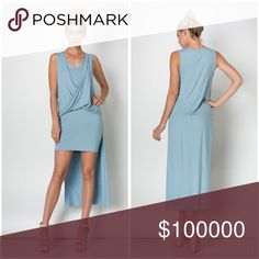 Exquisite and flattering drape front hi lo dress! In Prada Blue she his flattering drape front hi lo dress is effortless yet creates a stunning silhouette! Color is lovely  Dresses