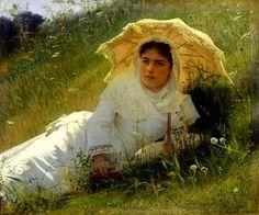 Woman with Parasol by Ivan Nikolaevich Kramskoi, 1883