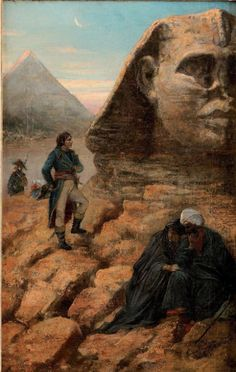 Napoleon Bonaparte in Egypt 1798-1799. Under a waning moon, meditating on the riddle of the Sphinx.