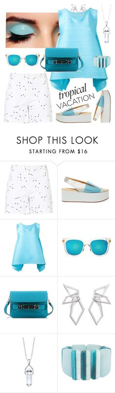 """Hot Spot"" by petalp ❤ liked on Polyvore featuring Armani Jeans, MM6 Maison Margiela, Pleats Please by Issey Miyake, Gentle Monster, Proenza Schouler, W. Britt, Bridge Jewelry, John Lewis, shorts and ootd"