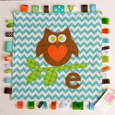 Personalized Baby Ribbon Lovey Blanket - Brown Spotted Owl