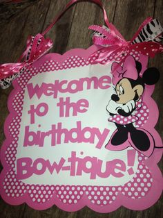 Minnie Mouse birthday door sign pink polka dots with personalized message by PurpleZebraPaperCo on Etsy https://www.etsy.com/listing/122609851/minnie-mouse-birthday-door-sign-pink