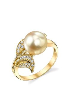 Radiance Pearl 18K Yellow Gold 9mm Golden South Sea Pearl & Diamond Leaf Ring $671.00.  Love how beautiful it is!