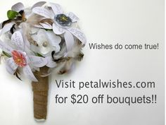 petalwishes.com has $20 off their rehearsal bouquets! Perfect for any bridal shower. #bridalshowerideas #rehearsalbouquet