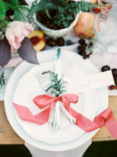 ribbon place setting - photo by Rebecca Hollis Photography http://ruffledblog.com/ferns-and-fruit-wedding-inspiration