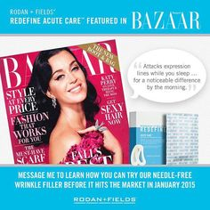 Check it! #RodanAndFields brand new product Acute Care already being featured in magazines!! One-of-a-kind product that will fill a wrinkle while you sleep! #wrinklewarrior  Only available to consultants today and preferred customers next month. Who is ready to get started?! malverson.myrandf.biz