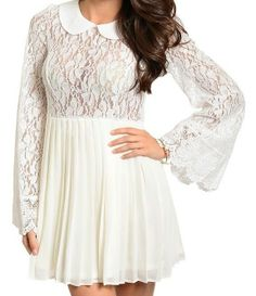 New Fashion Lace Dress Peterpan Collar Pleated Skirt Wide Lace Flutter Sleeve. Sold for $19.25 with Free Ship