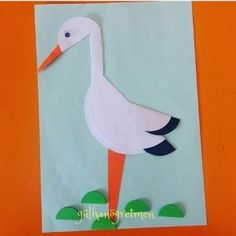 Stork craft idea for kids – Crafts and Worksheets for Preschool,Toddler and Kindergarten Bird Crafts, Nature Crafts, Paper Crafts, Arts And Crafts, Easter Crafts For Kids, Preschool Activities, Diy For Kids, Goose Craft, Stork Bird