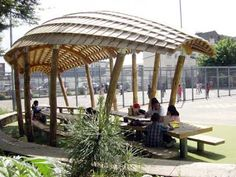 outdoor classroom tables and roof.