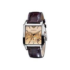 Montre ARMANI homme chronographe, bracelet marron style croco, boîtier argenté et cadran beige.
