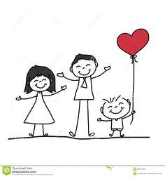 Vector Art Hand Drawing Cartoon Happy Family Clipart Drawing