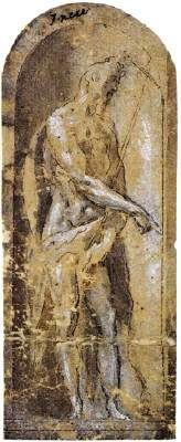St. John the Baptist - El Greco.  1577.  Pen and brown ink with brown and grey wash, heightened with white on paper.  136 x 55 mm.  Private collection.