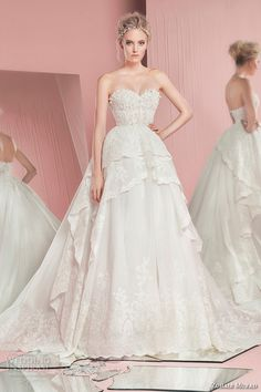 zuhair murad spring summer 2016 bridal strapless sweetheart neckline lace embroidery wedding ball gown dress pink