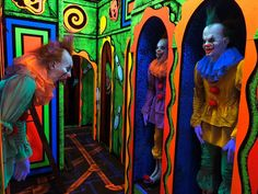 Paint cardboard to look like clown images inside a funhouse mirror