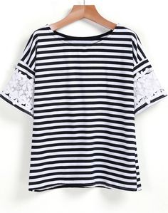 To find out about the Black White Lace Short Sleeve Striped T-Shirt at SHEIN, part of our latest T-Shirts ready to shop online today! White Lace Shorts, Lace Tee, Look Fashion, Fashion Outfits, Casual Outfits, Cute Outfits, Whimsical Fashion, Shirt Refashion, Summer Shirts