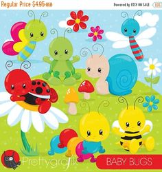 80% OFF SALE Baby Bug clipart commercial use, bugs vector graphics, bee, ladybug digital clip art, digital images  - CL839