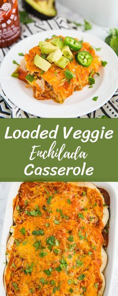 This Loaded Veggie Enchilada Casserole Recipe is a delicious take on traditional enchiladas. An easy dinner that is vegetarian and can even be made into a vegan enchilada casserole if you just leave off the cheese!