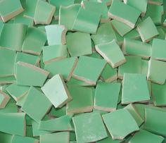 Mosaic Tiles 100 Vintage Mint Green Broken Plate Tessera. $17.50, via Etsy.