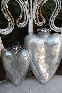 "Mercury - Hearts Duo   Beautiful ""jewel""-encrusted trim on these reproduction mercury hearts.  http://www.vintageweave.com"