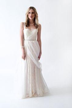 elegant ivory a line floor length wedding dress scalloped straps