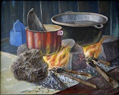Fogón campesino South American Art, Still Life Oil Painting, Still Life Art, Kitchen Art, Illustrators, Decoupage, Images, Fine Art, Pictures