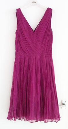 Topshop super, super flattering magenta pink pleated chiffon dress. Pic by me.