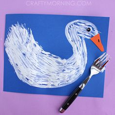 Fork Print Swan craft for kids to make!