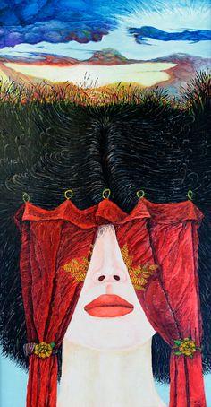 RED CURTAIN   47 x 87 cm   Acrylic and Oil Painting on Hardboard   by Krzysztof Polaczenko ® 2014