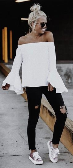 trendy white and black outfit idea