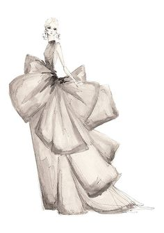 Watercolour fashion illustration of model in an elegant taupe gown - dress drawing; fashion sketch
