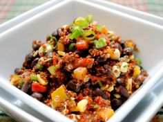 Healthy, delicious Red Quinoa and Black Bean Salad. Great as a side with fish tacos or as a vegetarian meal.